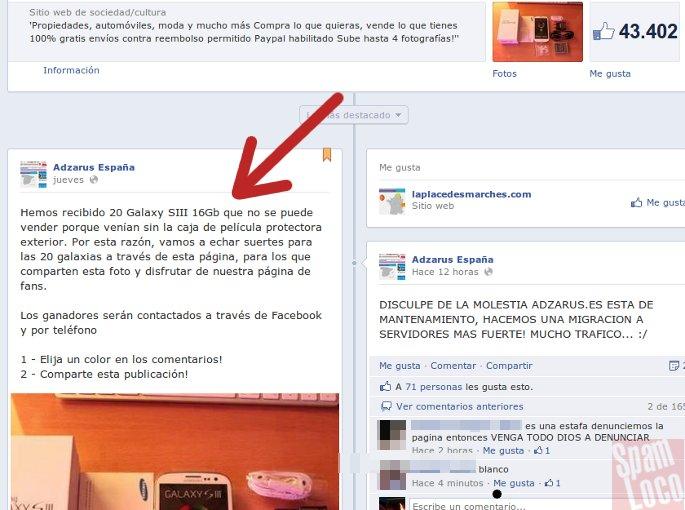 sorteo falso samsung galaxy en facebook