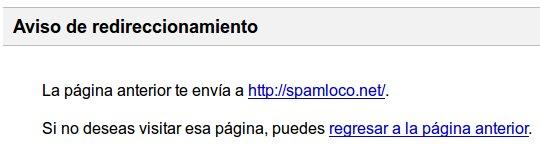 aviso de redireccionamiento de google