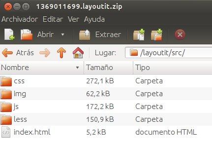 descarga del frontend creado con layoutit