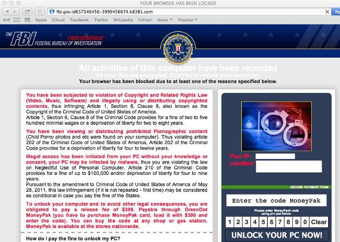 pagina falsa FBI engaña usuarios de mac