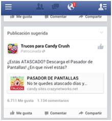 spam en facebook de candy crush