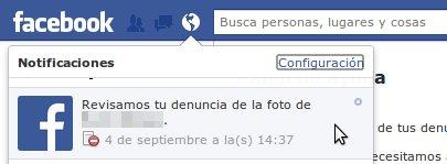 notificacion de facebook sobre denuncia de foto