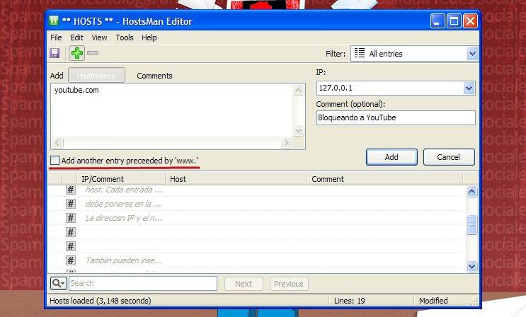 programa editor del archivo hosts