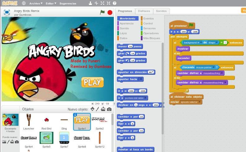 angry birds creado con scratch