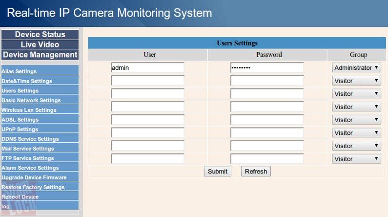 configuracion usuarios camara ip