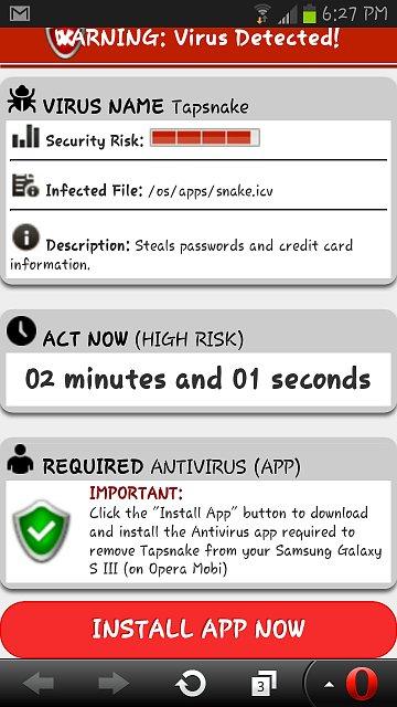 pop up android con publicidad engañosa de antivirus