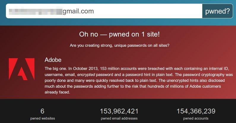 resultado de la herramienta que verifica si tu correo fue robado