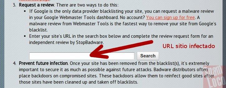 solicitud de malware con stopbadeware