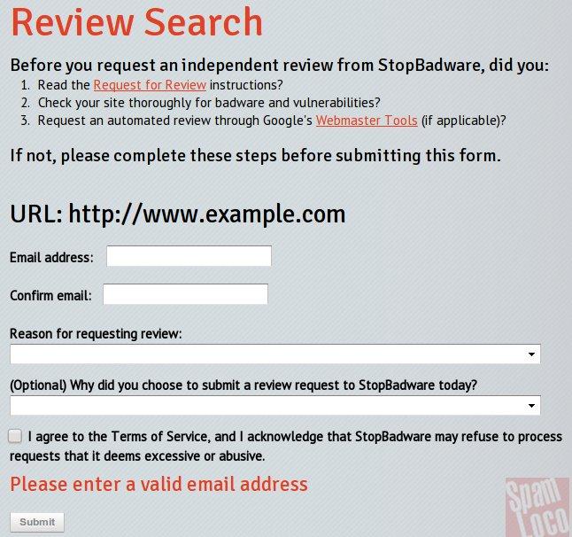 solicitud de revision de malware
