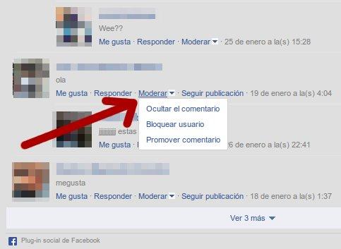 moderando comentarios en facebook