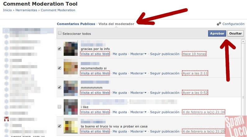 panel de moderación de comentarios en facebook