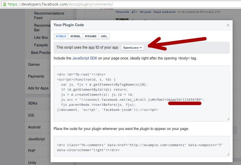 id de la aplicacion en el script de facebook
