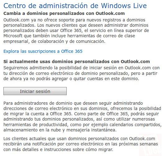 dominios personalizados de outllok ya no es gratis