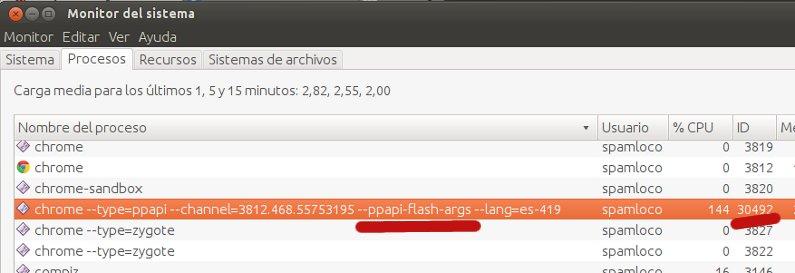 monitor del sistema ubuntu proceso chrome