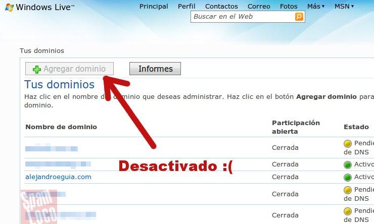ya no se pueden agregar nuevos dominios personalizados outlook