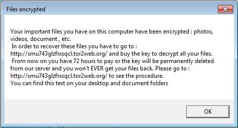mensaje ransomware bitcoin