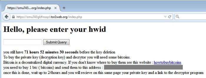 pagina en tor del ransomware