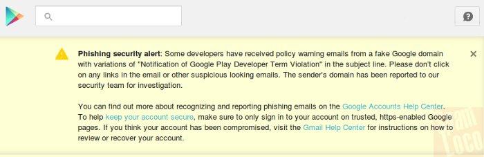alerta de google play sobre phishing