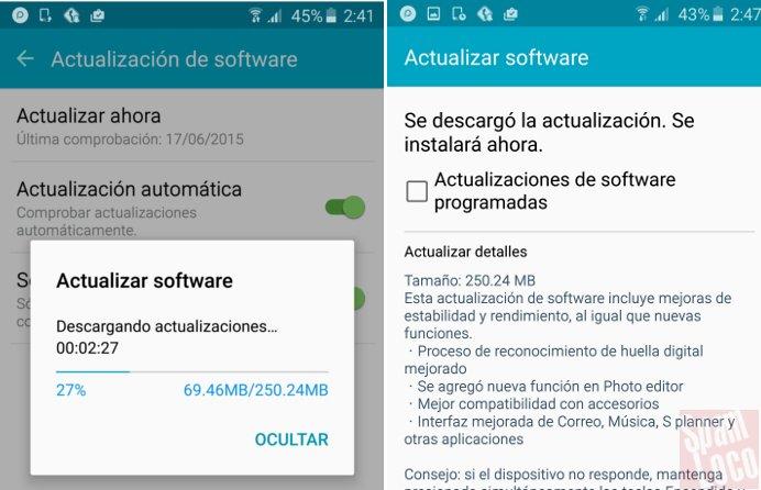 Actualización en Samsung s6