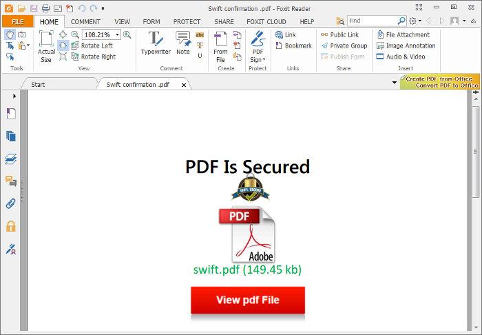 PDF con enlace falso a otro PDF