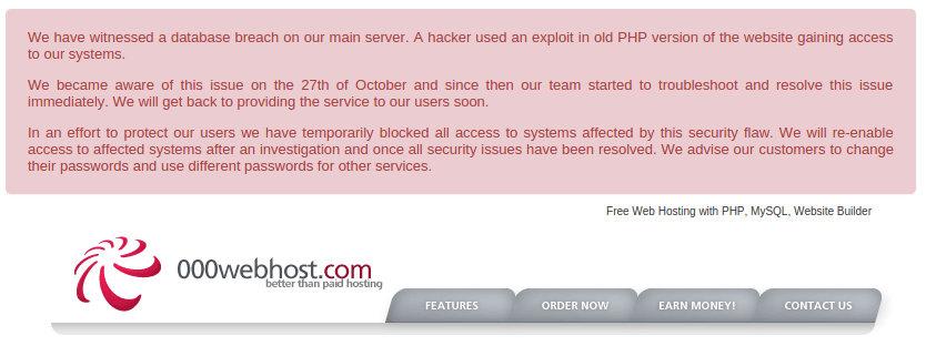 000webhost mensaje de hackeo