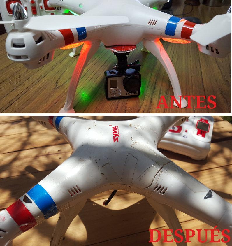 drone syma con algunos golpes