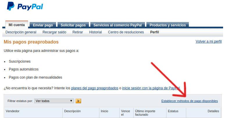 establecer metodo de pago en paypal