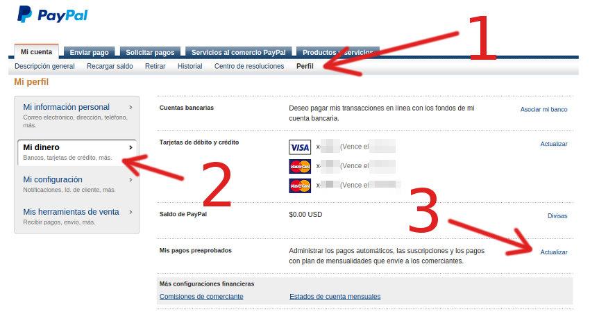 paypal configurar los pagos