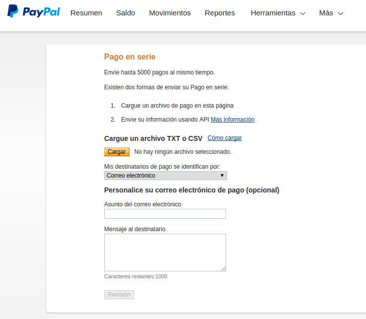 envio de pago en serie en paypal