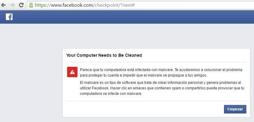 facebook mensaje de malware