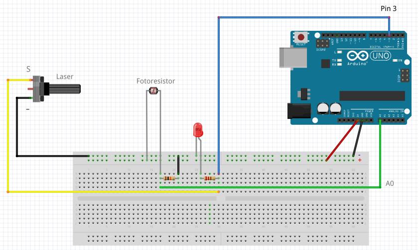 esquema arduino laser con alarma