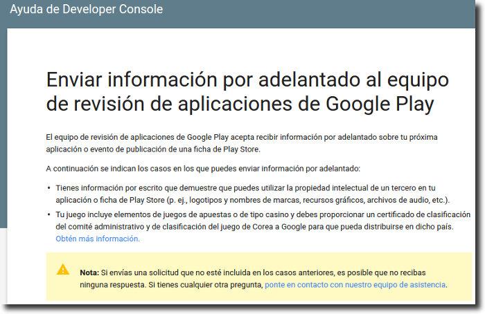 informacion por adelantado google play revision