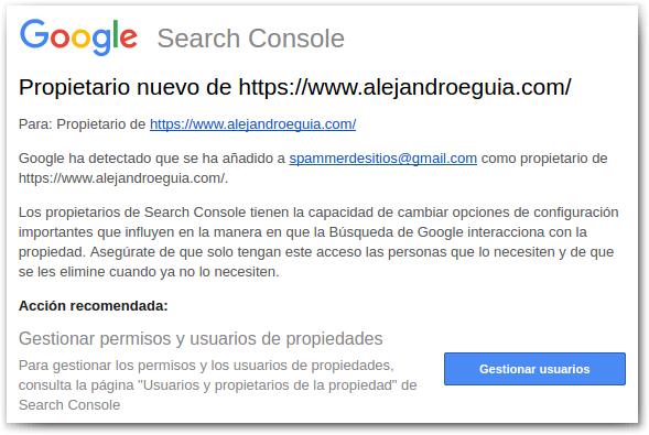 nuevo usuario verificado en search console