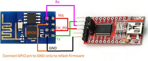 conexion ESP8266 con FTDI