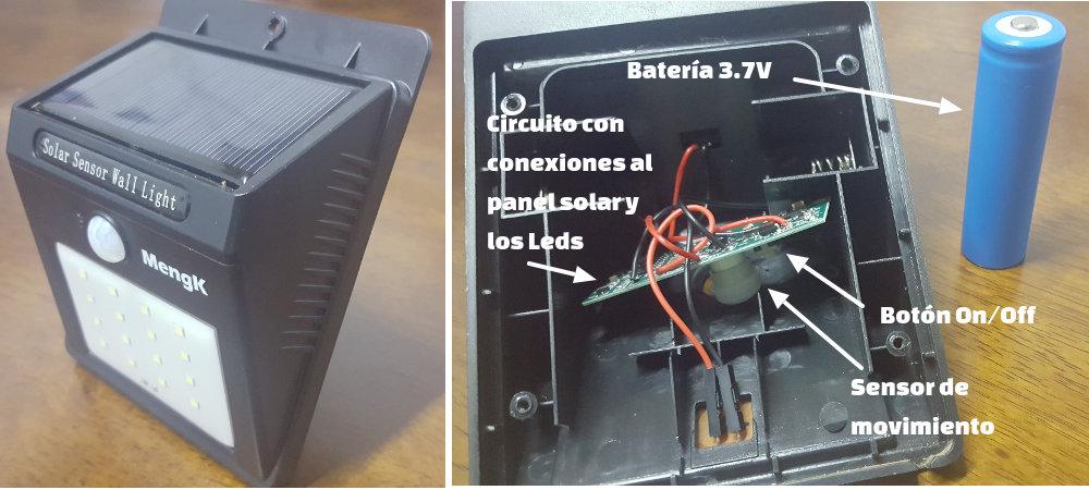 luces led con panel solar y sensor de movimiento